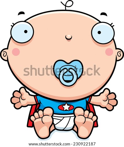 A cartoon illustration of a baby superhero with a pacifier. - stock vector