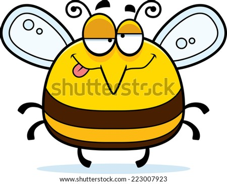 A cartoon illustration of a bee looking drunk. - stock vector