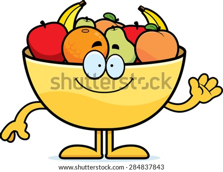 A cartoon illustration of a bowl of fruit waving. - stock vector