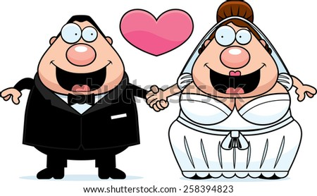 A cartoon illustration of a bride and groom holding hands and in love. - stock vector