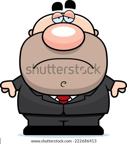 A cartoon illustration of a businessman with a sad expression. - stock vector