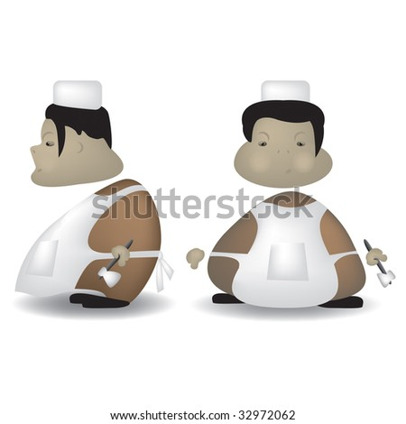 A cartoon illustration of a butcher front and side view - stock vector