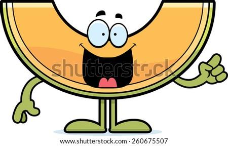 A cartoon illustration of a cantaloupe with an idea. - stock vector