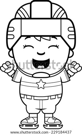 A cartoon illustration of a child hockey player celebrating. - stock vector