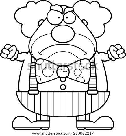 A cartoon illustration of a clown with an angry expression. - stock vector