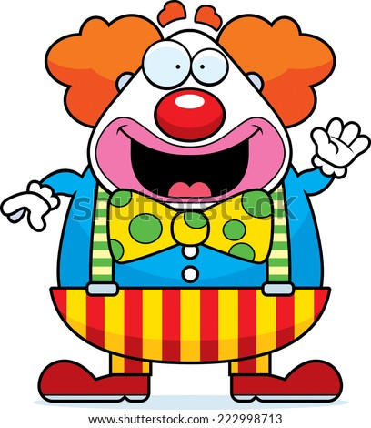 A cartoon illustration of a clown with smiling and waving. - stock vector