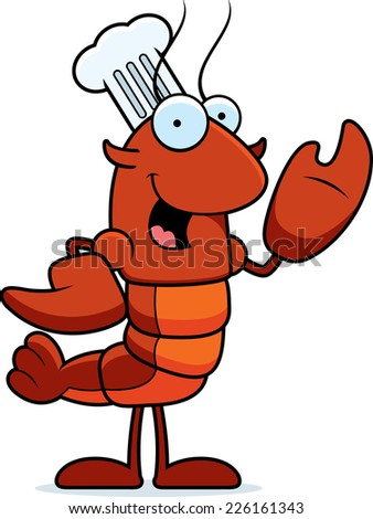 A cartoon illustration of a crawfish chef waving. - stock vector