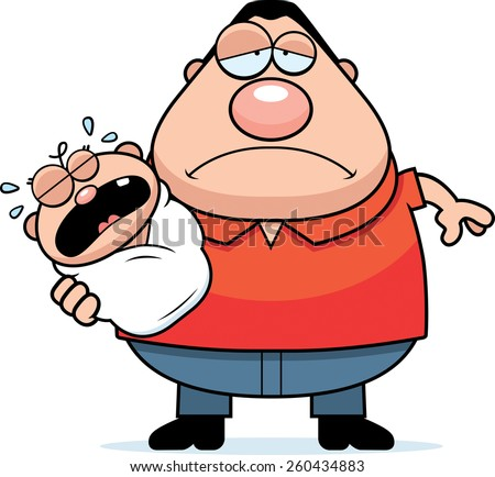 A cartoon illustration of a dad with a crying baby looking tired. - stock vector