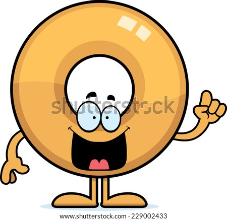 A cartoon illustration of a doughnut with an idea. - stock vector