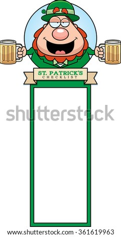 A cartoon illustration of a drunk leprechaun in a St. Patrick's Day themed graphic. - stock vector
