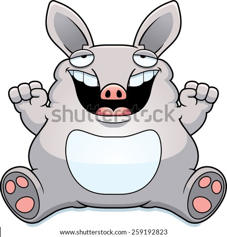 A cartoon illustration of a fat aardvark smiling and sitting. - stock vector