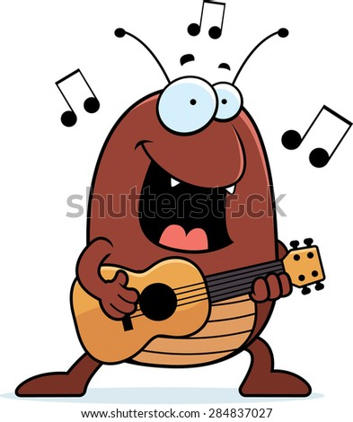 A cartoon illustration of a flea playing the ukulele. - stock vector