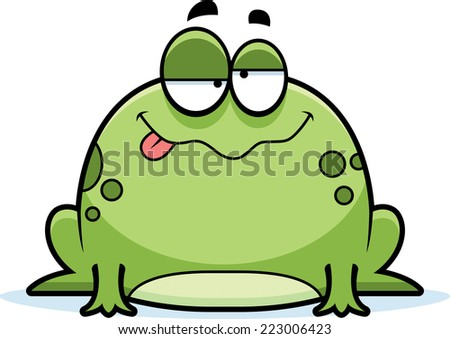 A cartoon illustration of a frog looking drunk. - stock vector