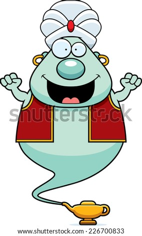 A cartoon illustration of a genie celebrating. - stock vector