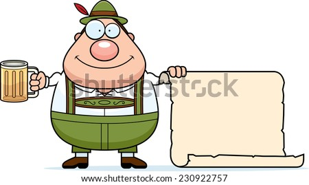 A cartoon illustration of a German man in lederhosen with a sign. - stock vector