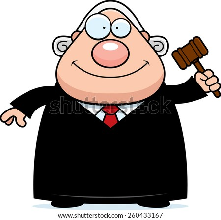 A cartoon illustration of a judge holding a gavel. - stock vector