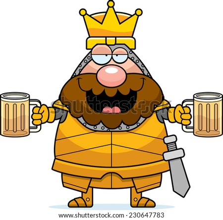 A cartoon illustration of a king in armor looking drunk. - stock vector