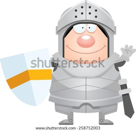 A cartoon illustration of a knight waving. - stock vector