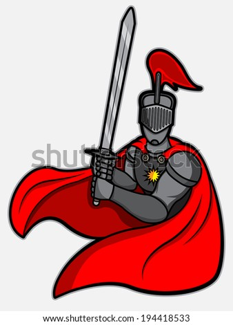 A cartoon illustration of a knight with fighting stance pose - stock vector