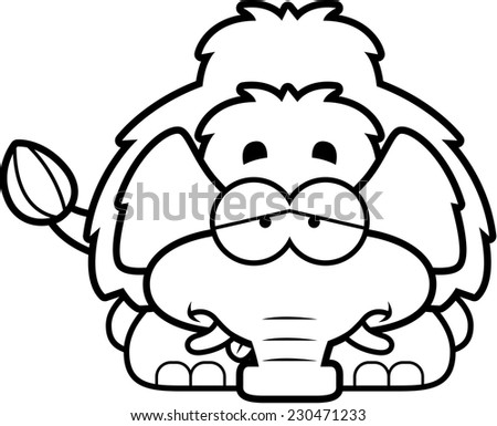 A cartoon illustration of a little mammoth looking sick. - stock vector