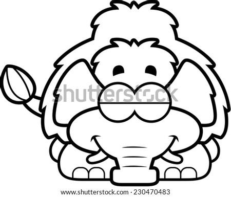 A cartoon illustration of a little mammoth sleeping. - stock vector