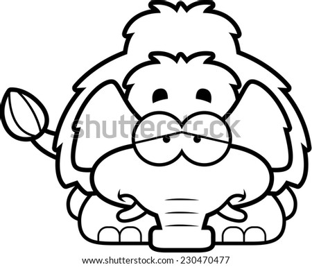 A cartoon illustration of a little mammoth with a sad expression. - stock vector