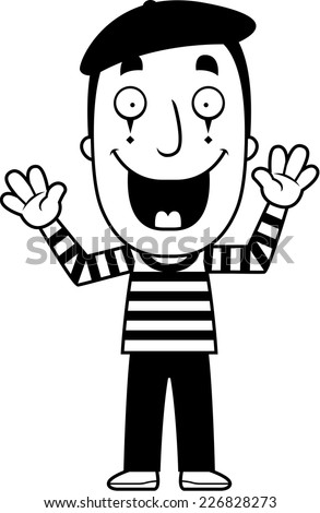 A cartoon illustration of a mime smiling. - stock vector
