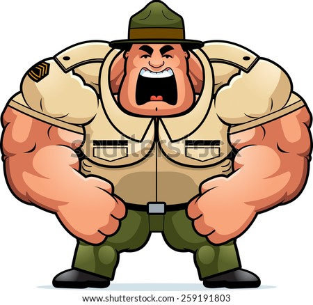 A cartoon illustration of a muscular drill sergeant yelling. - stock vector