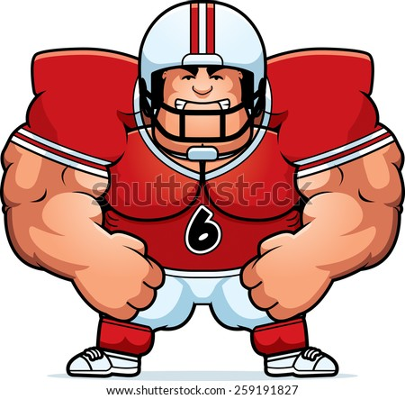 A cartoon illustration of a muscular football player looking angry. - stock vector