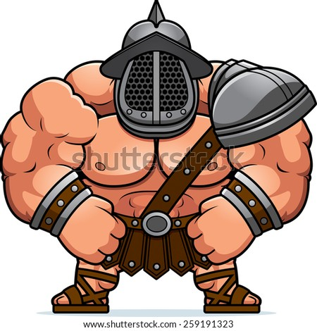 A cartoon illustration of a muscular gladiator flexing. - stock vector