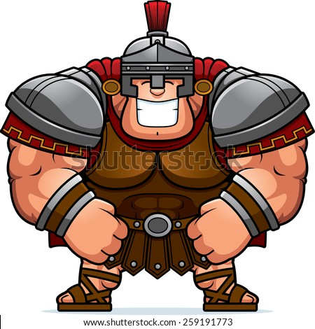 A cartoon illustration of a muscular Roman Centurion in armor smiling. - stock vector