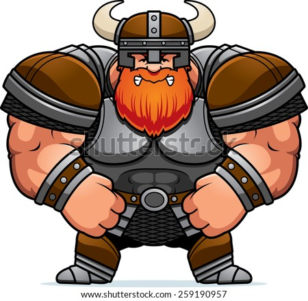 A cartoon illustration of a muscular Viking looking angry. - stock vector