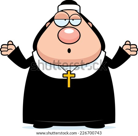 A cartoon illustration of a nun looking confused. - stock vector