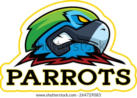 A cartoon illustration of a parrot mascot head. - stock vector