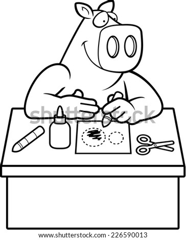 A cartoon illustration of a pig doing arts and crafts. - stock vector
