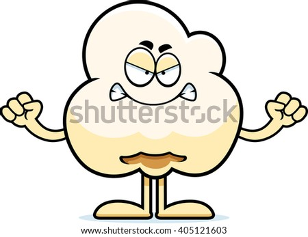 A cartoon illustration of a popcorn kernel looking angry. - stock vector
