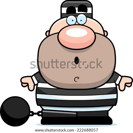 A cartoon illustration of a prisoner looking surprised. - stock vector
