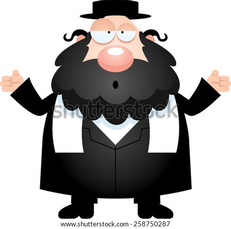 A cartoon illustration of a rabbi looking confused. - stock vector