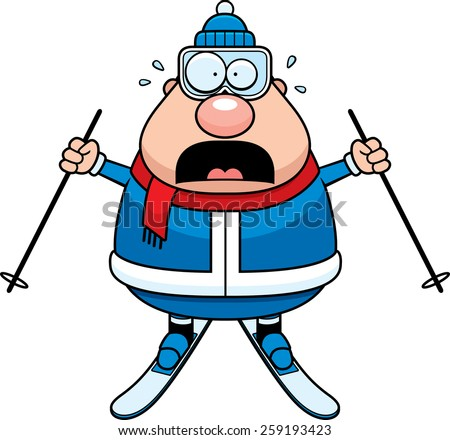 A cartoon illustration of a skiing man looking scared. - stock vector