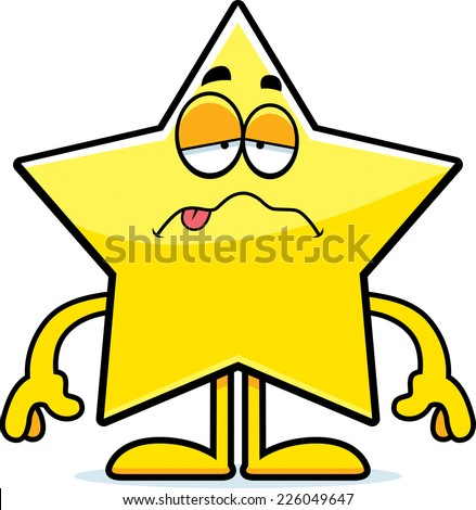 A cartoon illustration of a star looking sick. - stock vector