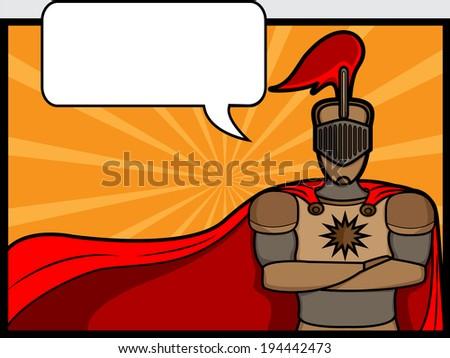 A cartoon illustration of a talkative knight  - stock vector
