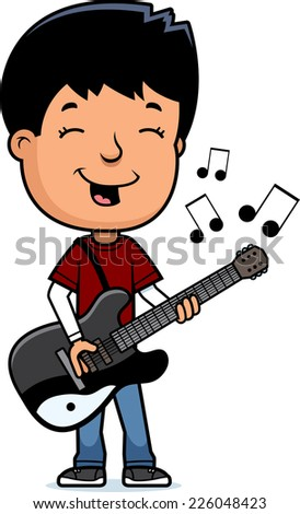 A cartoon illustration of a teenage boy playing an electric guitar. - stock vector