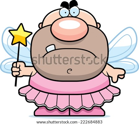 A cartoon illustration of a tooth fairy looking angry. - stock vector