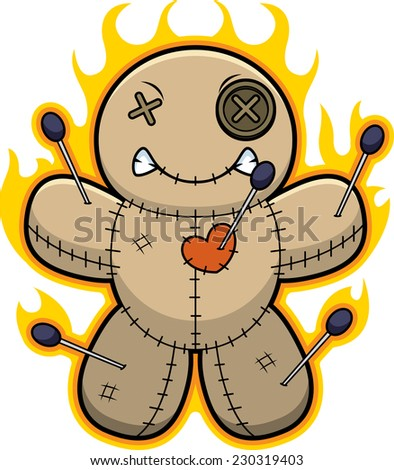 A cartoon illustration of a voodoo doll with flames. - stock vector