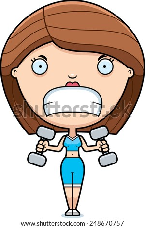 A cartoon illustration of a woman lifting weights looking angry. - stock vector