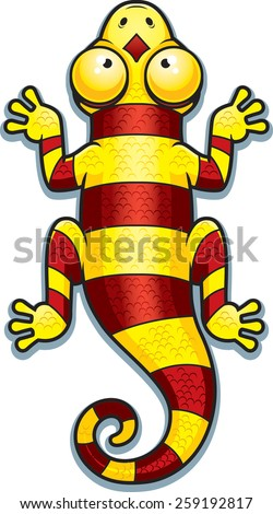 A cartoon illustration of a yellow and red lizard with stripes. - stock vector