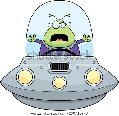 A cartoon illustration of an alien in a UFO looking scared. - stock vector