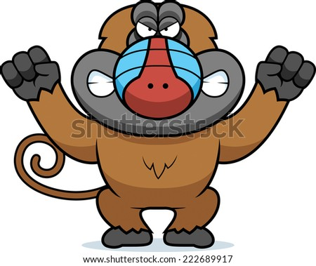 A cartoon illustration of an angry looking baboon. - stock vector