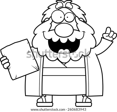 A cartoon illustration of Moses with an idea. - stock vector