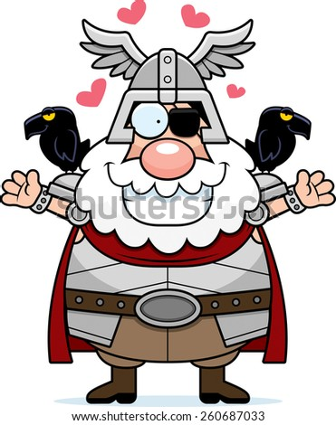 A cartoon illustration of Odin ready to give a hug. - stock vector